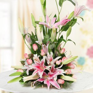 Bunch of Lilies and Roses