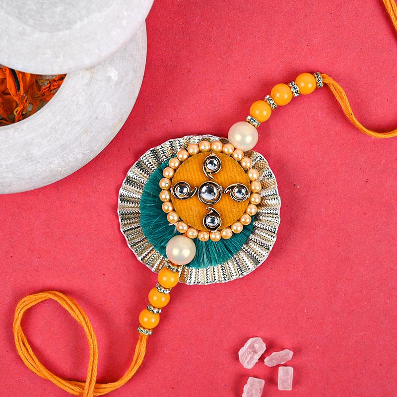 Beautiful Orange Rakhi - Pearl Rakhi, Zardosi rakhi