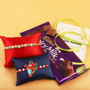 Beautiful Rakhi Set With Yummy Cadbury