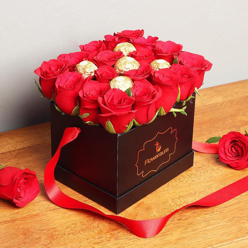 Ferrero Rocher and Red Roses Arrangement in Black Box