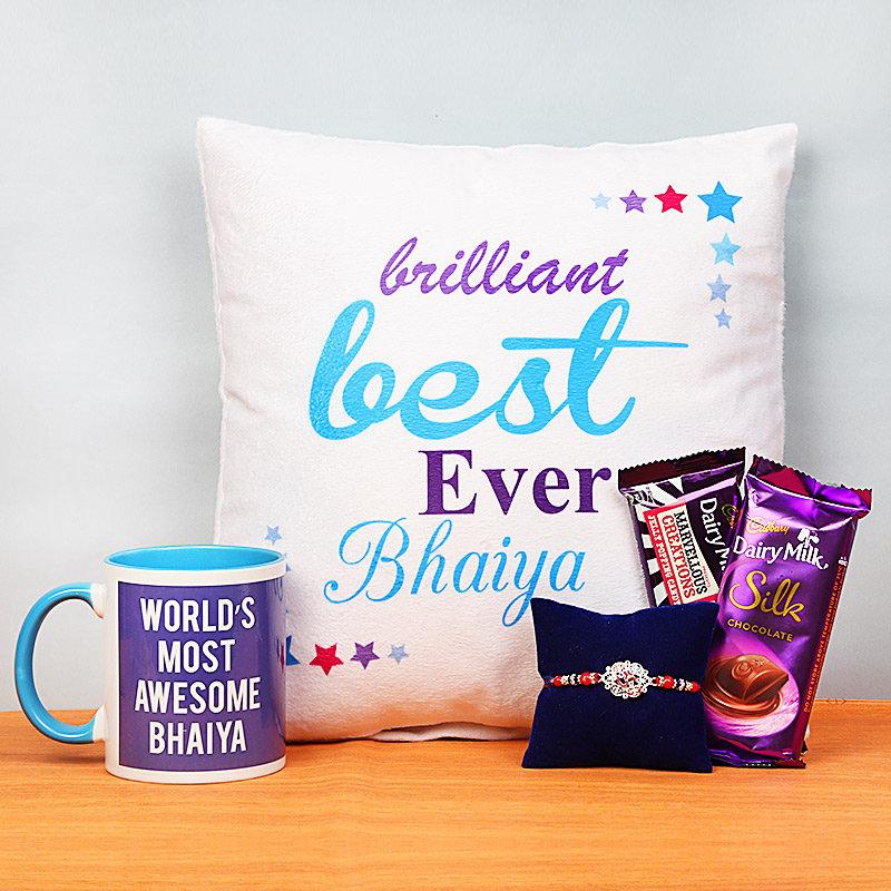 Silver Rakhi and Cushion with Printed Mug and Two Chocolates