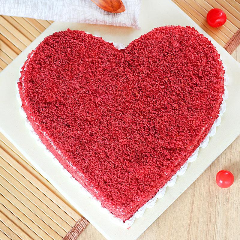 Benevolent Heart Shape Red Velvet Cake - Zoom View - Top View