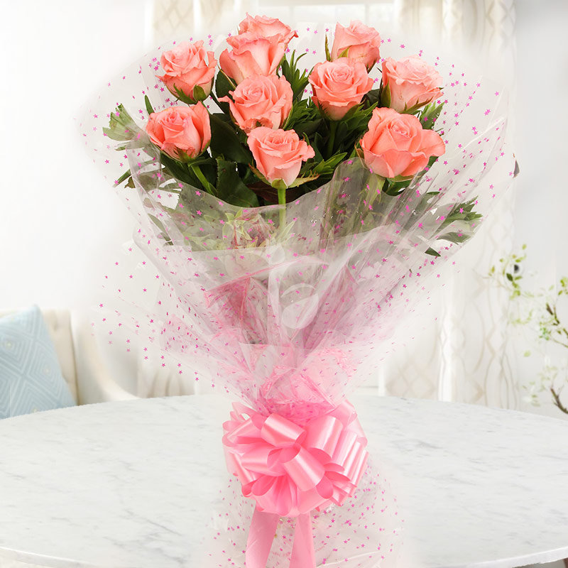 Front view of 10 pink roses bunch - A gift of Best Compliment