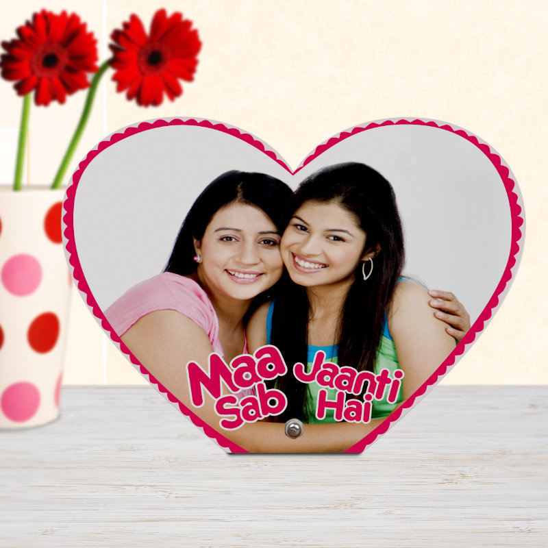 Heart shaped customized photo frame for your mom