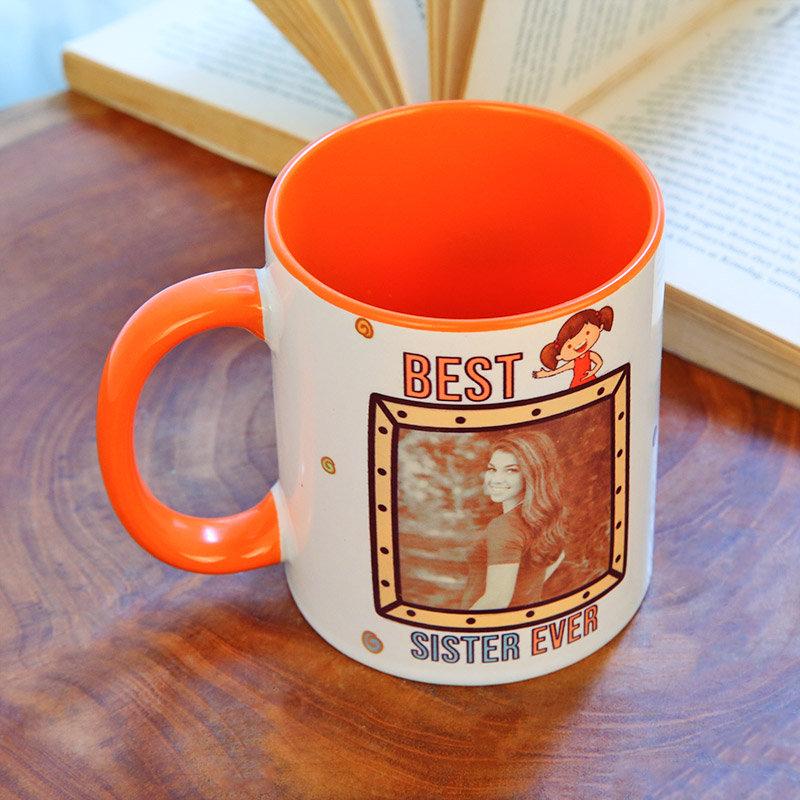 Up side view of Best Sister Custom Mug Gifts for Sister on Rakhi