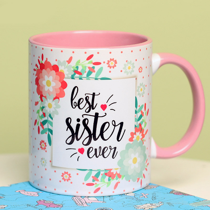 Best Sister Ever Floral Mug