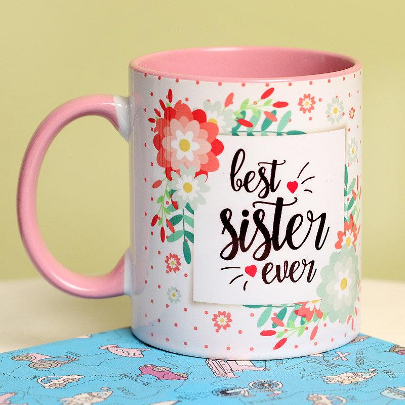 Best Sister Ever Floral Mug - Rakhi Gifts for Sister Online