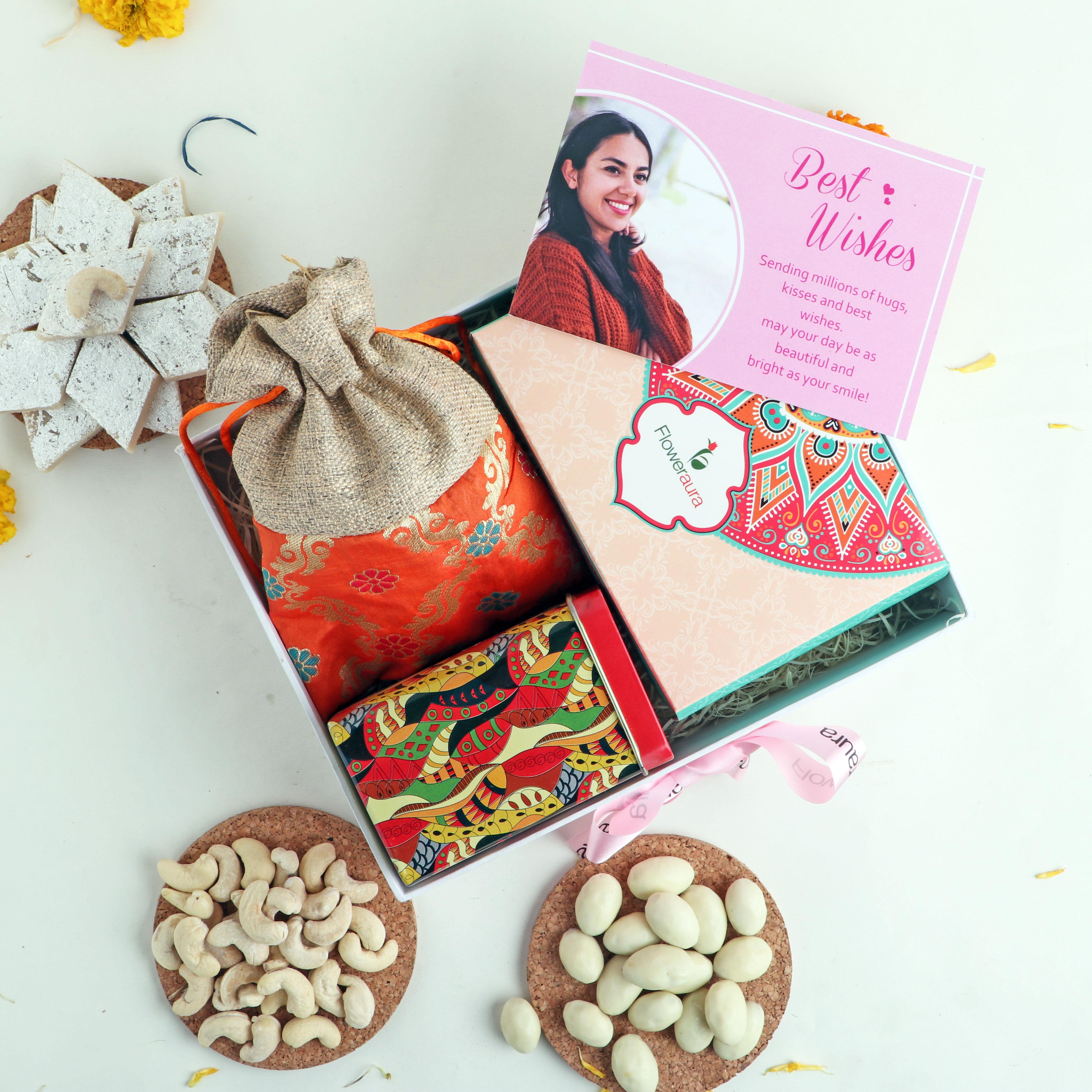 Festive Gift Combo with Kaju Katli & Cashews in Orange Potli