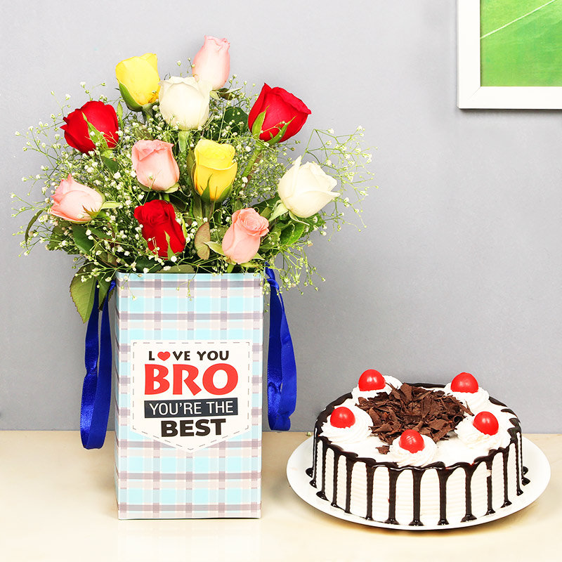 Bestest Brother Cake Combo - 10 Mixed Roses in Floral Box for Brother 0.5 Kg Blackforest Cake