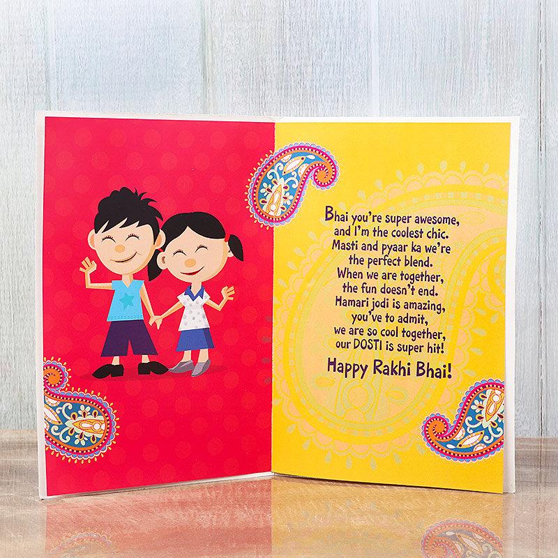 Greeting Card with Rakhi Attached - Rakhi Greeting Cards Online for Raksha Bandhan