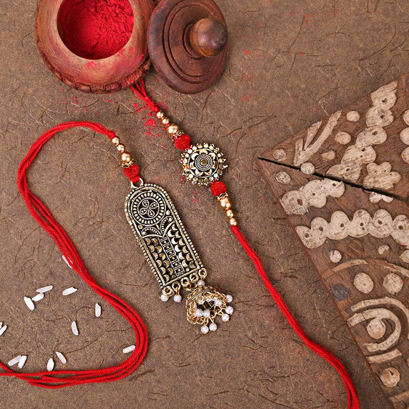 One Bhaiya Bhabhi Rakhi - Bhai Bhabhi Designer Rakhi