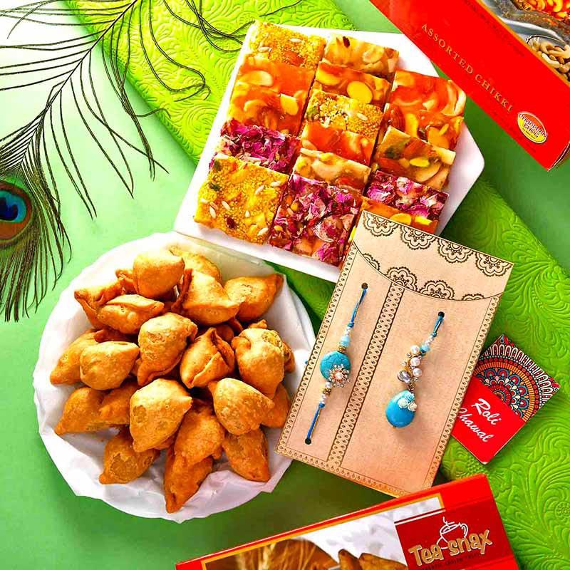 Bhaiya Bhabhi Rakhi With Assorted Delicacies