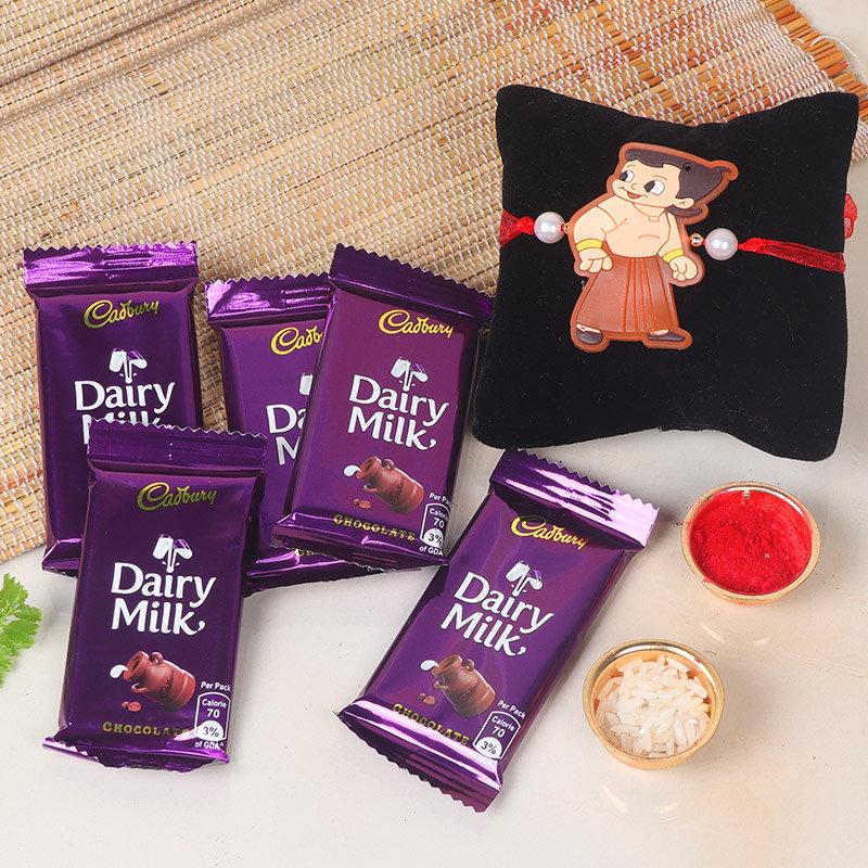 Bheem Rakhi With Chocolates - One Chota Bheem Rakhi with Roli and Chawal and 5 Dairy Milk Chocolates - 13gm each