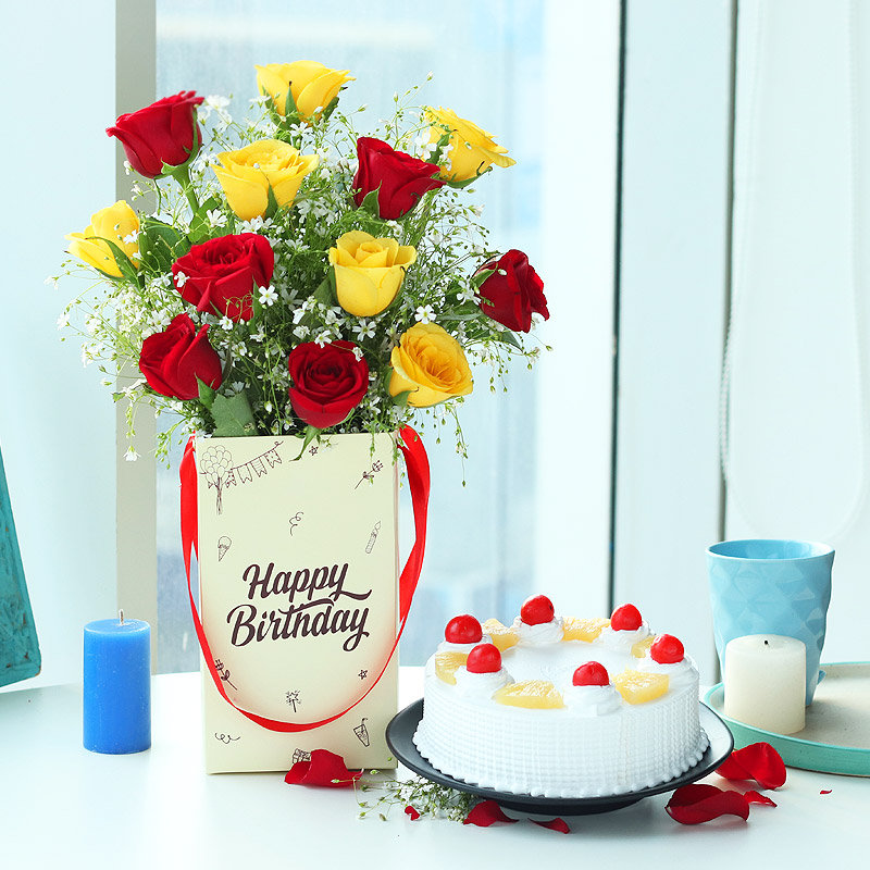 Roses Bunch in Birthday Flower Box with Pineapple Cake