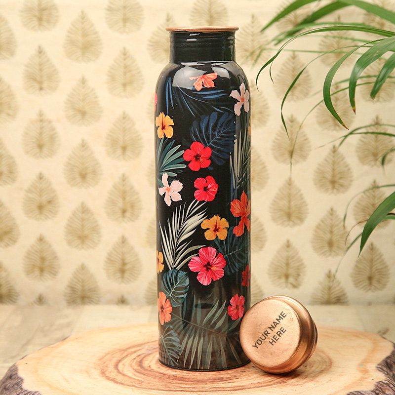 Personalised Floral Copper Bottle