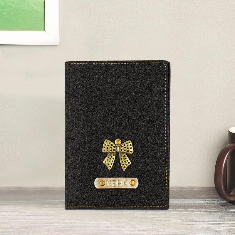 Black Glitter Personalized Passport Cover