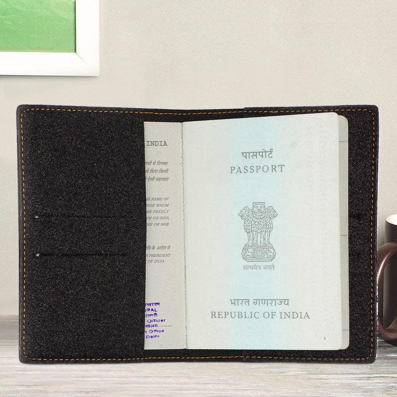 Inner Side of Black Glitter Personalized Passport Cover