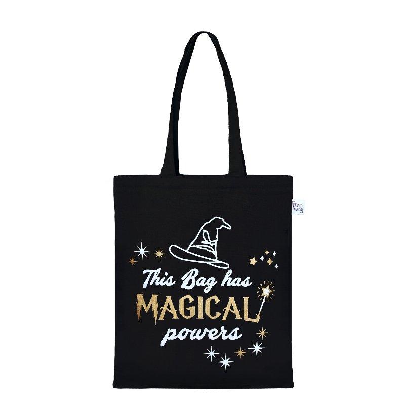 Black Magical Tote Bag: Magical Powers Zipper Tote Bag