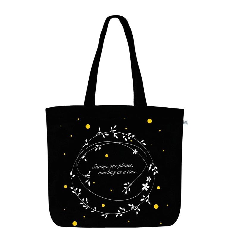 Black Zipper Tote Bag: Save Our Planet Large Zipper Tote Bag