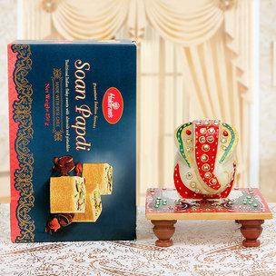 Diwali Sweets with Marble Ganesha Idol