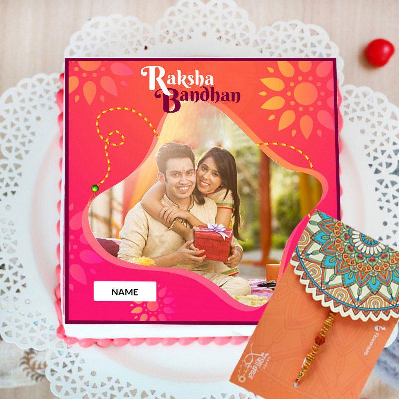Rudraksha Rakhi With Personalised Photo Cake - Order for Same Day Delivery