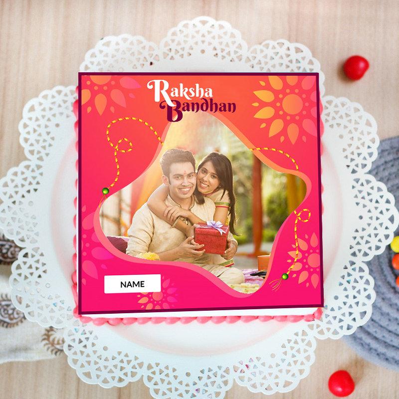 Top View of Rudraksha Rakhi With Personalised Photo Cake