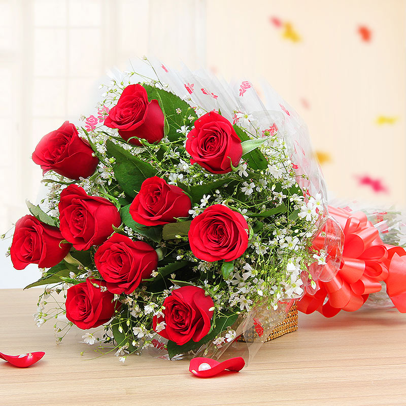 10 Red roses bunch - 1st gift of Blooming Butterscotch Combo