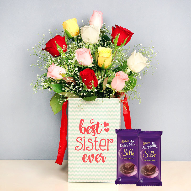 Blooming Rose Box With Silk Chocolates - Bunch of 10 Mixed Roses with Sister Flower Box and 2 Dairy Milk Silk Chocolates