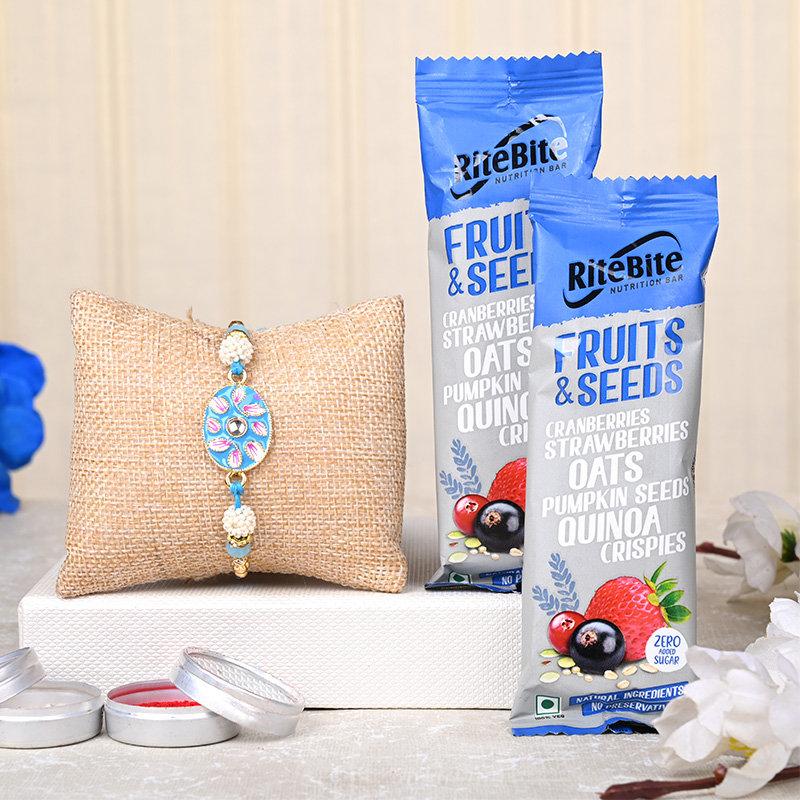 Blue Diamond Rakhi N Chocolate Set - One Designer Rakhi