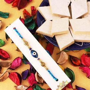 Blue Evil Eye Rakhi N Sweet Combo