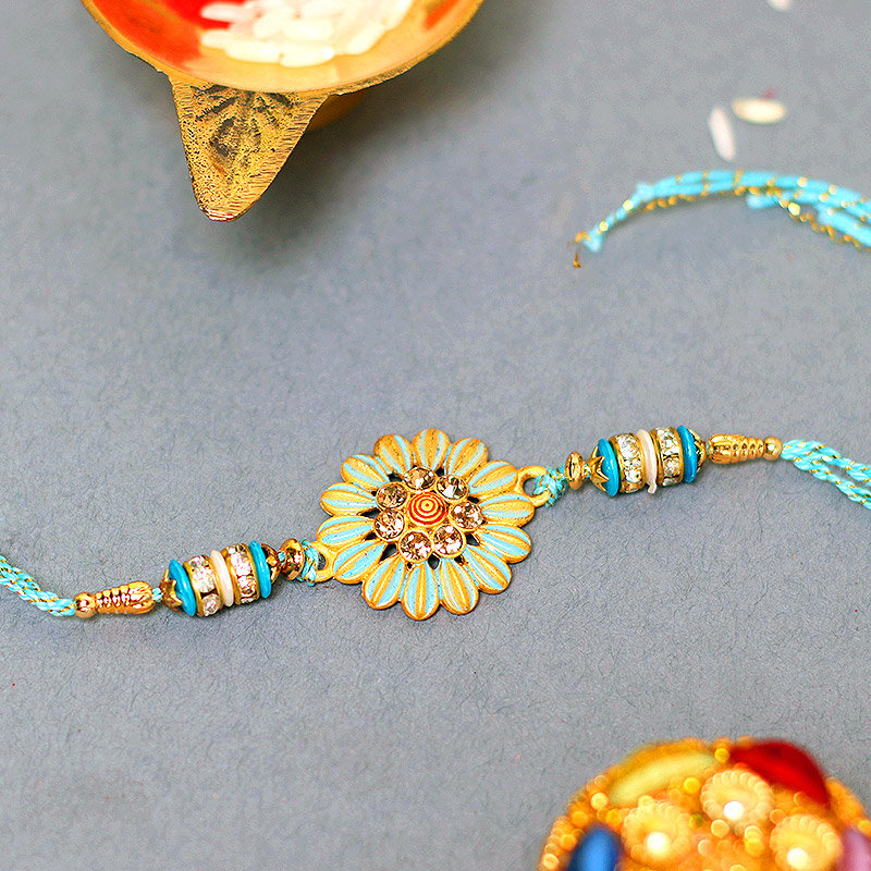 Blue Floral Designer Rakhi