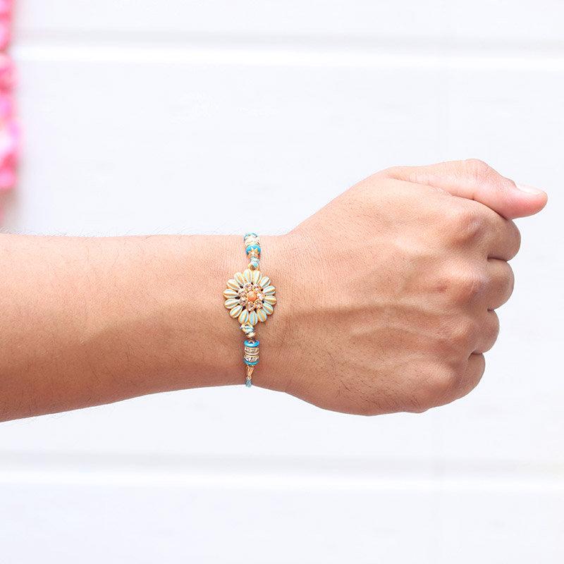 Blue Floral Designer Rakhi - Rakhi Gifts for Brother Online