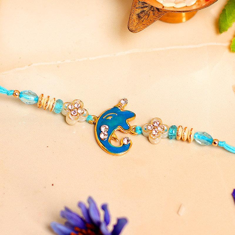 Blue Ganesha Rakhi - One Divine Rakhi with Roli Chawal