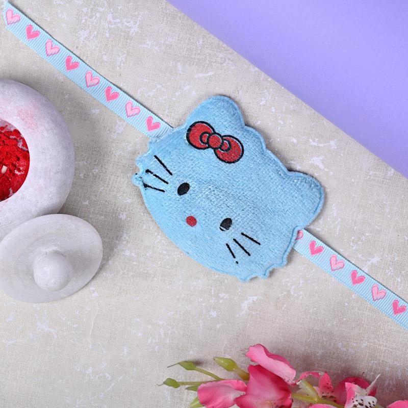 One Cartoon Rakhi - Blue Hello Kitty Rakhi