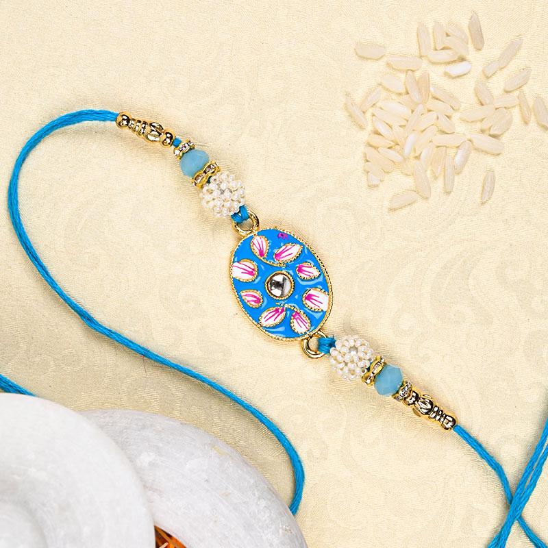 Blue Petals Rakhi - Pearl Rakhi, Kundan Rakhi