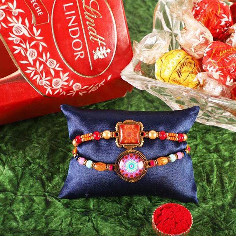 Boho Rakhi Set With Lindor Chocolate Truffles