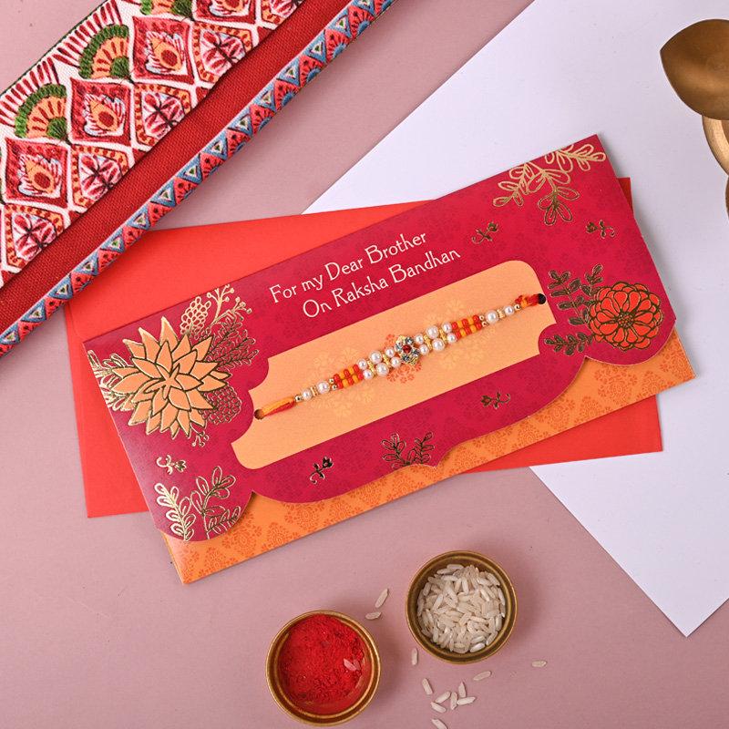 Bold Red Rakhi Combo of 1 Designer Rakhi With Greeting Card