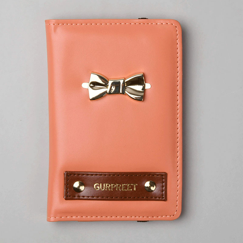 Zoom View of Custom Passport Wallet with Bow