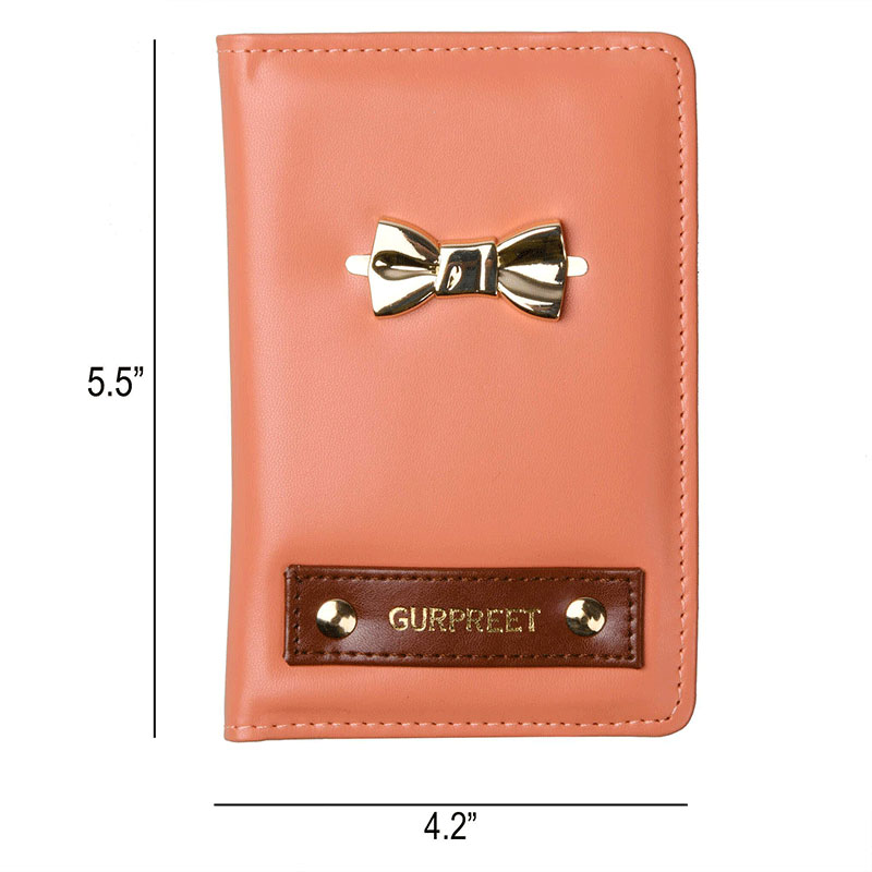Dimension of Custom Passport Wallet with Bow