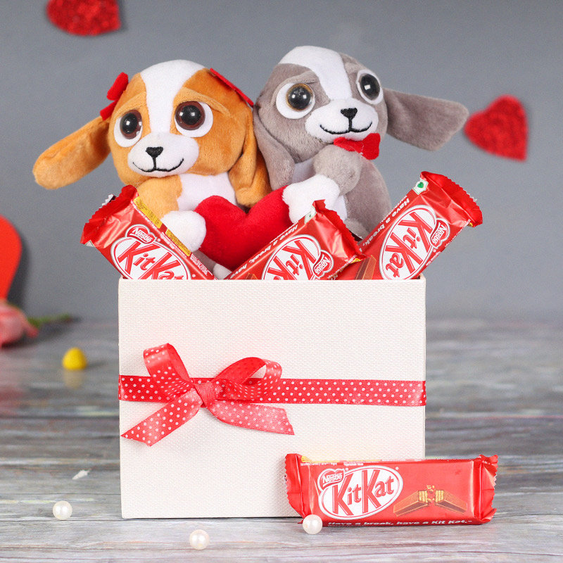 Valentine Chocolate Combo: Teddy Couple Soft Toys With Chocolate