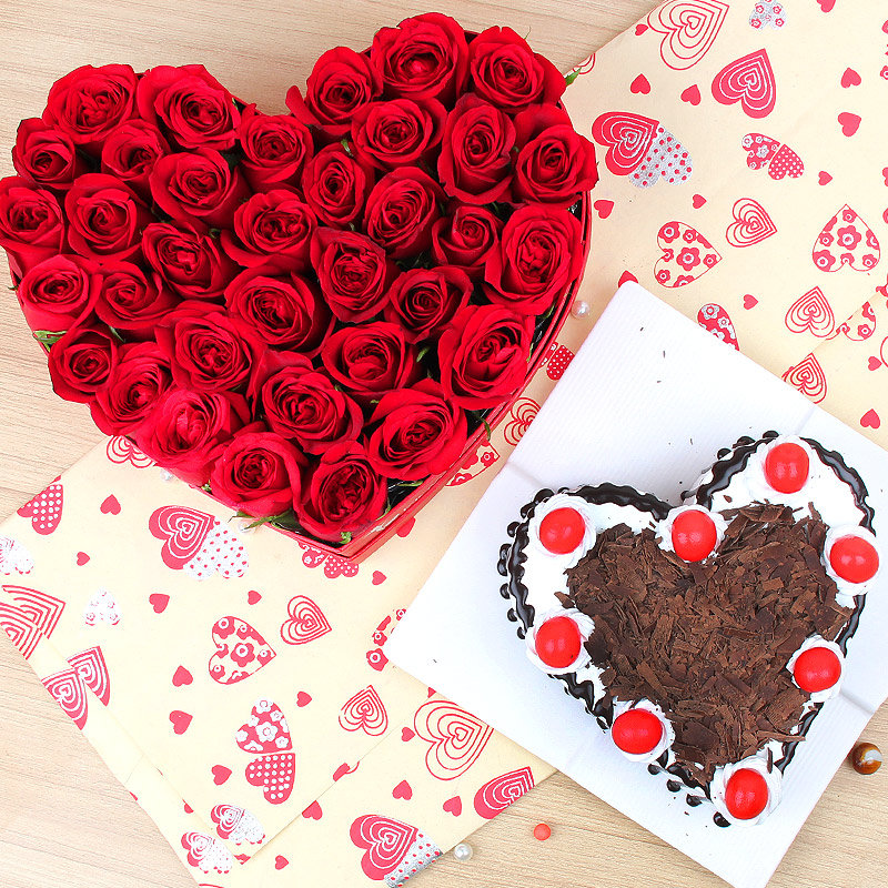 Breathtaking Exuberance - Combo 35 red roses heart shape bunch and heart shaped black forest cake