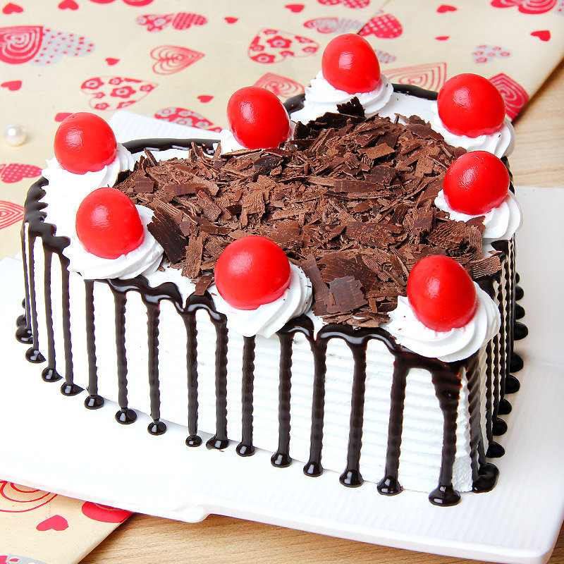 Heart shaped Black Forest Cake - A gift of Breathtaking Exuberance
