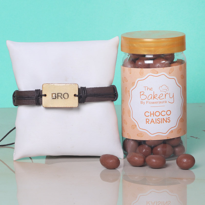 Bro Rakhi Choco Combo - One Bracelet Rakhi with Complimentary Roli and Chawal and 100gm Choco Raisins in Metallic Container