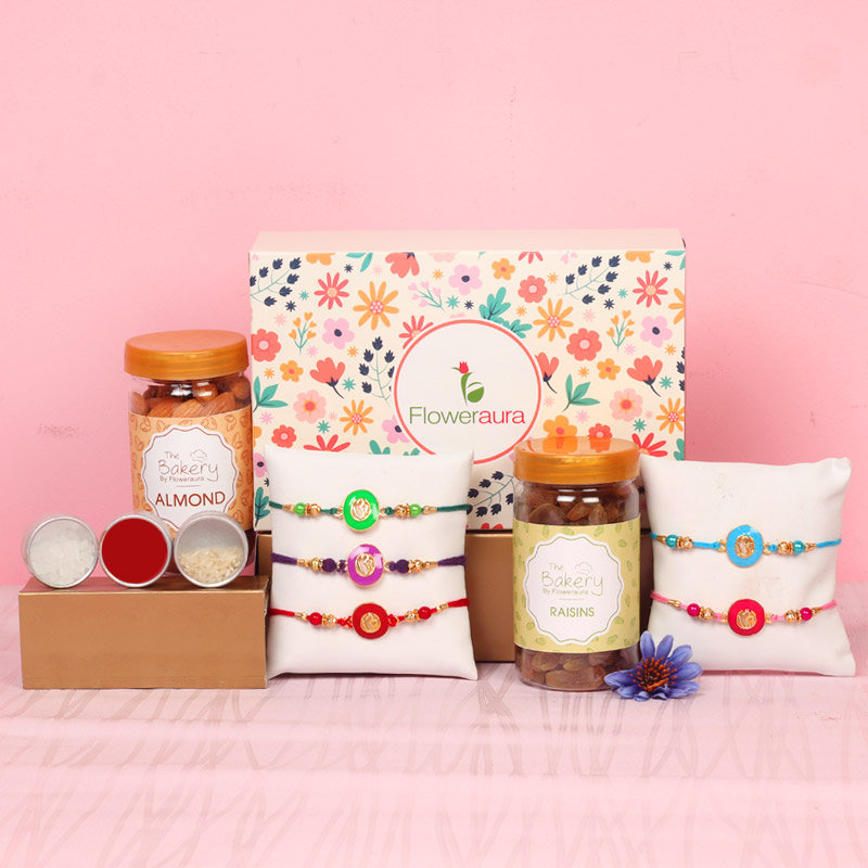 Brothers Special Signature Box - Set of 5 Designer Rakhis with Complimentary Roli and Chawal and 100gm Almonds in Plastic Container and 100gm Raisins in Plastic Container and One Floweraura Signature Box