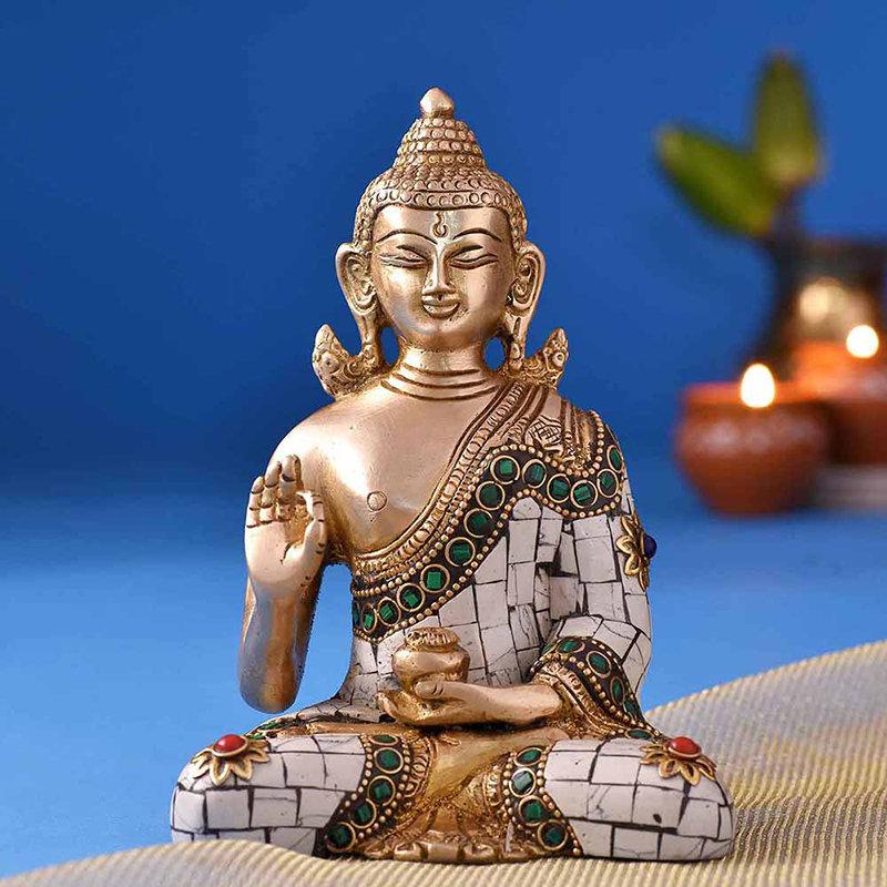 Buddha Bliss Brass Idol