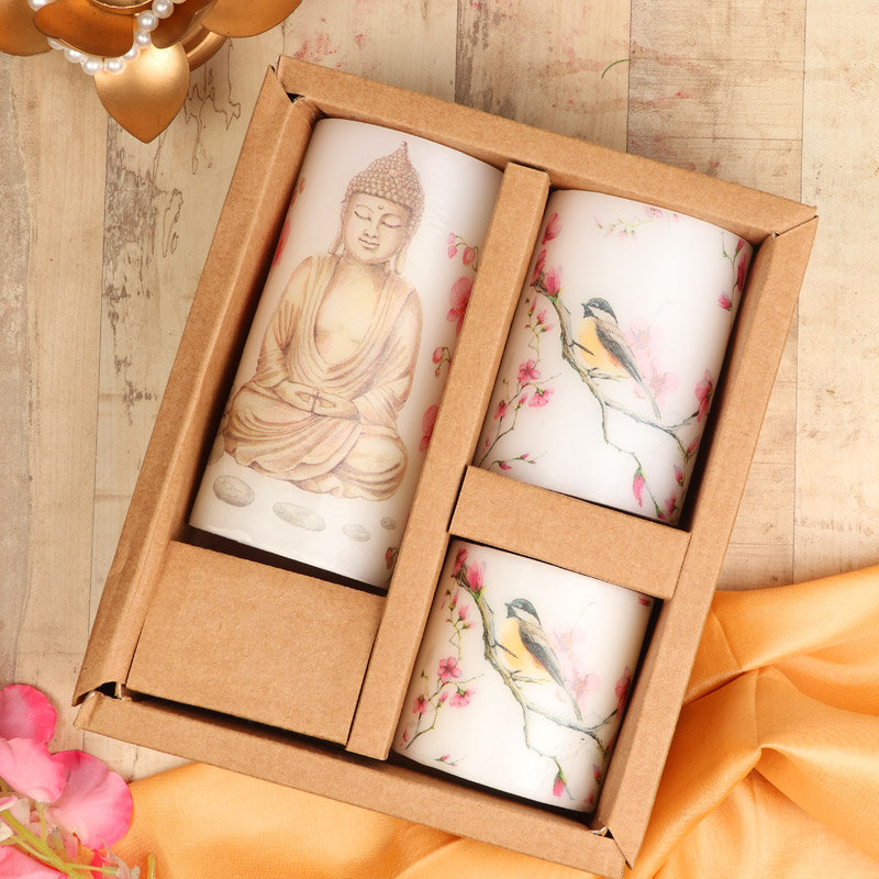 Buddha Printed Pillar 3 Candles Set in a Box - A Perfect Corporate Gift