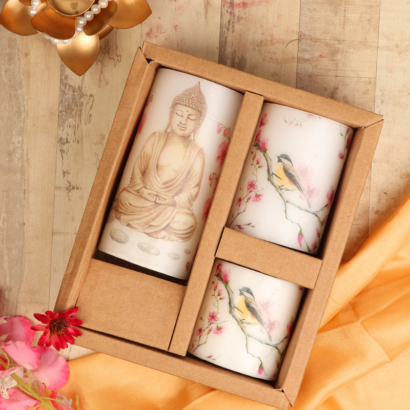Lord Buddha Printed Pillar Candles Set in a Box - A Corporate Gift
