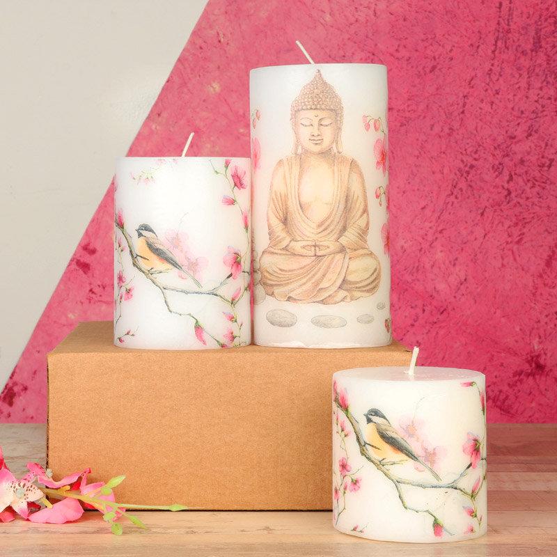 Buddha Printed Pillar Candles Set - A Perfect Corporate Gift