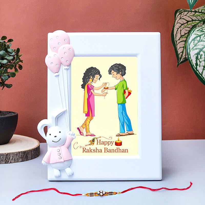 Bunny Custom Rakhi Frame Combo