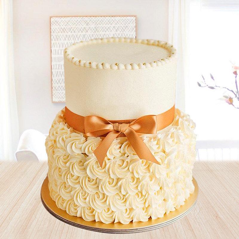 2 tier butterscotch cake - First gift of Buttercream Fiesta